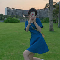 Dress Spring 2021 Wash water blue XS,S,M,L Short skirt singleton  Short sleeve commute square neck Solid color A-line skirt puff sleeve 18-24 years old Type A Korean version