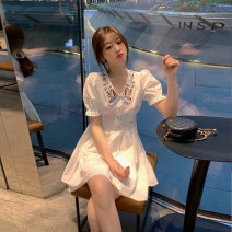 Dress Summer 2020 Pearl White S M L XL Mid length dress singleton  Short sleeve commute Doll Collar High waist Solid color Single breasted A-line skirt puff sleeve Breast wrapping 25-29 years old Type A Luxurious and charming Korean version Embroidered button TUqYw More than 95% other Other 100%