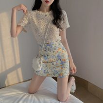 Lace / Chiffon Summer 2020 Apricot top floral skirt apricot Top + floral skirt S M L XL Short sleeve commute Socket Two piece set Self cultivation Regular Crew neck Solid color routine 18-24 years old Luxurious and charming Hollowing out Korean version 31% (inclusive) - 50% (inclusive) Other 100%