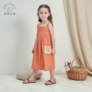 Dress Orange light green female Petite Neverland / ruochu Island 90cm 100cm 110cm 120cm Cotton 100% summer lady Skirt / vest Solid color cotton A-line skirt D7109O06 Class A Summer 2020 Three years old, four years old, five years old Chinese Mainland Zhejiang Province Hangzhou