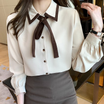 Lace / Chiffon Spring 2021 Blue apricot S M L XL 2XL Long sleeves commute Cardigan singleton  easy have cash less than that is registered in the accounts stand collar Solid color shirt sleeve 25-29 years old Yunzilian S0072 Three dimensional decoration with bow Korean version