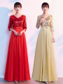 Dress / evening wear Wedding party company annual meeting performance S M L XL XXL XXXL Gold dress red dress Korean version longuette middle-waisted Summer 2021 Fall to the ground Deep collar V Bandage 18-25 years old ZYF-168 Long sleeves flower Solid color Weaving to multiply routine