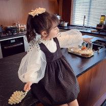 Dress black female Mimihello 90cm 100cm 110cm 120cm 130cm 140cm 150cm Other 100% spring and autumn Korean version Skirt / vest Solid color other A-line skirt MTQ878067 Class B Spring 2021 Chinese Mainland