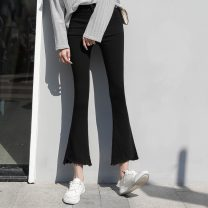 Women's large Spring 2021 black XL [110-130 Jin] 2XL [130-150 Jin] 3XL [150-170 Jin] 4XL [170-200 Jin] trousers singleton  commute Self cultivation moderate Solid color Korean version cotton MKD-MD8250 Mikedo 18-24 years old Other 100% Pure e-commerce (online only) Ninth pants
