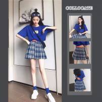 Women's large Summer 2021 Blue top + blue skirt S M L XL Dress Two piece set Socket 8102# Tong Mengni Other 100% Pure e-commerce (online only)
