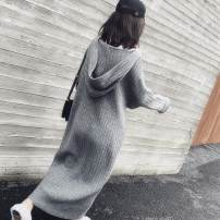 Dress Autumn 2020 Grey, khaki, black S. M, l, XL longuette singleton  Long sleeves commute Hood High waist Solid color Socket A-line skirt routine Others 18-24 years old Type A Korean version 71% (inclusive) - 80% (inclusive) knitting