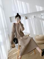 Women's large Autumn 2020 Dark grey, camel, apricot S, M singleton  commute easy thickening Long sleeves Solid color Korean version Medium length other routine Other