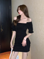 Dress Summer 2021 black S M L XL Short skirt singleton  Short sleeve commute square neck High waist Socket One pace skirt puff sleeve Others 18-24 years old Dongmeifu Pleated fold More than 95% other Other 100% Pure e-commerce (online only)