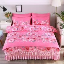 Bed skirt 2.0m bed skirt 4-piece quilt cover 200x230, 1.8m bed skirt 4-piece quilt cover 200x230, 1.5m bed skirt 4-piece quilt cover 200x230, 1.2m bed skirt 3-piece quilt cover 150x200 cotton Other / other Plants and flowers Qualified products