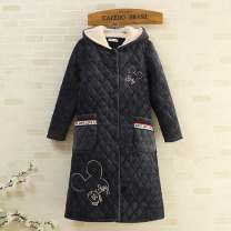 Nightdress Other / other 9283 medium ash, 9283 bean paste 165(L),170(XL) Sweet Long sleeves Living clothes longuette winter Solid color youth Hood Polyester (polyester) Embroidery Coral wool with cotton