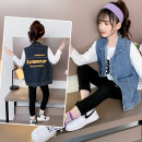 Vest female Blue black 110cm 120cm 130cm 140cm 150cm 160cm spring and autumn Thin money There are models in the real shooting Single breasted leisure time Denim other Class B Autumn 2020 Chinese Mainland Five, six, seven, eight, nine, ten, eleven, twelve