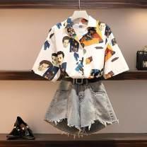 Women's large Summer 2019, summer 2020 Shirt + wide leg pants, shirt, wide leg pants Large L [recommendation 95-120], large XL [recommendation 120-140], large 2XL [recommendation 140-160], large 3XL [recommendation 160-180], large 4XL [recommendation 180-200] commute easy thin Cardigan Short sleeve
