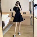 Dress Summer 2021 Black Lapel dress S M L XL Middle-skirt singleton  Short sleeve commute Polo collar High waist Solid color Socket A-line skirt routine Others 18-24 years old Type A Yishangbao Korean version More than 95% other other Other 100%