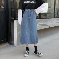 Women's large Spring 2020 blue L [suggested 110-120 kg] XL [suggested 120-140 kg] XXL [suggested 140-160 kg] XXL [suggested 160-180 kg] XXXXL [suggested 180-200 kg] s [suggested 85-95 kg] m [suggested 95-110 kg] skirt singleton  commute easy moderate Solid color Korean version Denim cotton others