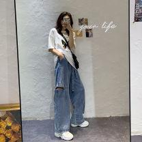 Women's large Summer 2020 blue S [recommended 85-95 Jin] m [recommended 95-110 Jin] l [recommended 110-125 Jin] XL [recommended 125-140 Jin] 2XL [recommended 140-160 Jin] 3XL [recommended 160-180 Jin] 4XL [recommended 180-200 Jin] Jeans singleton  commute easy moderate Korean version LTWU50325 belt