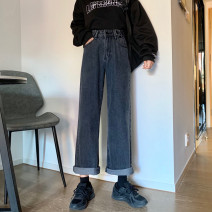 Women's large Spring 2020 Black grey trousers singleton  commute Straight cylinder moderate Solid color Korean version Three dimensional cutting DBTs (clothing) 18-24 years old Button 71% (inclusive) - 80% (inclusive) Other 100% Pure e-commerce (online only) trousers