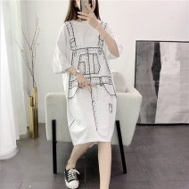 Dress Summer 2020 M L XL XXL longuette Fake two pieces elbow sleeve commute Crew neck Loose waist Hand painted Socket Irregular skirt routine 18-24 years old Type H Narcissus Korean version Asymmetric printing More than 95% cotton Cotton 100% Pure e-commerce (online only)