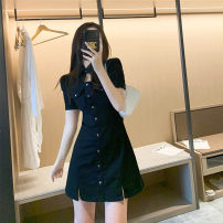 Women's large Summer 2021 Black dress S M L XL singleton  commute easy thin Short sleeve Korean version square neck routine Murphy 18-24 years old 51% (inclusive) - 70% (inclusive) Short skirt Other 100% Pure e-commerce (online only)
