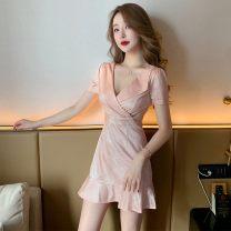 skirt Spring 2021 S,M,L,XL,2XL,3XL Black, pink Short skirt Open back, solid color