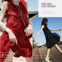 Dress Fumigation and tranquility Big red black M L XL XXL Korean version Sleeveless Medium length summer V-neck Solid color Chiffon