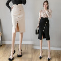skirt Spring 2021 S M L XL 2XL 3XL 4XL 5XL Mid length dress commute High waist skirt Solid color Type H 25-29 years old other Button zipper Korean version Pure e-commerce (online only) 251g / m ^ 2 (including) - 300g / m ^ 2 (including)