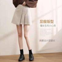 skirt Spring 2021 S 80-100kg waist 62, m 100-110kg waist 68, l 110-120kg waist 72, XL 120-130kg waist 76, 2XL 130-145kg waist 80 Black, oatmeal Short skirt High waist Pleated skirt Other / other Zipper, solid