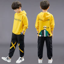 suit Other / other Yellow, blue male spring and autumn Korean version Long sleeve + pants 2 pieces routine Socket Solid color cotton Cotton 85% others 15% 2, 3, 4, 5, 6, 7, 8, 9, 10, 11, 12, 13, 14 years old Chinese Mainland