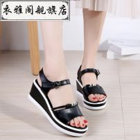 Sandals 35,36,37,38,39,40 White-01k, black-4t0 Double skin mulching Other / other Barefoot Slope heel High heel (5-8cm) Spring 2021 Flat buckle Solid color Youth (18-40 years old) daily Front and rear trip strap Low Gang Hollow PU QRNt Flat buckle