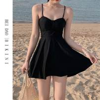 one piece  M,L,XL black Skirt one piece With chest pad without steel support female Sleeveless Casual swimsuit