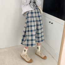 skirt Winter 2020 S M L Blue black longuette commute High waist A-line skirt lattice Type A 18-24 years old 51% (inclusive) - 70% (inclusive) other Xiaoqu polyester fiber zipper Korean version Polyethylene terephthalate (polyester) 51% cotton 49% Pure e-commerce (online only)