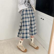 skirt Winter 2020 S M L Blue black longuette commute High waist A-line skirt lattice Type A 18-24 years old 51% (inclusive) - 70% (inclusive) other Xiaoqu polyester fiber zipper Korean version Polyethylene terephthalate (polyester) 51% cotton 49% Pure e-commerce (online only)