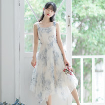 Dress Summer 2020 Picture color S,M,L,XL Mid length dress singleton  Sleeveless Sweet other High waist Decor Socket other other Others 18-24 years old Type A Splicing 71% (inclusive) - 80% (inclusive) other other Mori
