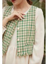 Parent child fashion Green check other female Other / other L,XL,XXL,XXXL See description Versatile lattice 20DS3034 Polyester fiber 73% polyacrylonitrile fiber (acrylic fiber) 17% viscose fiber (viscose fiber) 5% others 5% 12 months