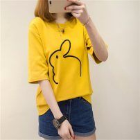 T-shirt M XXL L XL Summer 2020 elbow sleeve Crew neck easy Regular routine commute other 96% and above 18-24 years old Korean version youth Cartoon animal pattern Season collection Embroidery Other 100% Pure e-commerce (online only)