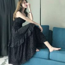 Dress Spring 2021 Black, white Mid length dress singleton  Sleeveless commute Solid color A-line skirt routine Others Type A Other Korean version backless