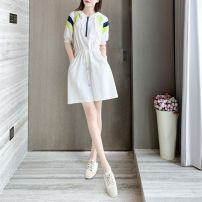 Dress Spring 2020 White, gray S,M,L,XL Mid length dress singleton  Short sleeve commute Hood High waist Socket A-line skirt routine Others 25-29 years old Other Korean version C19870BS1 More than 95% other