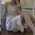 Dress Spring 2021 White black XS S M L longuette singleton  Sleeveless commute One word collar High waist Solid color Socket A-line skirt routine camisole 18-24 years old Type A Bang Ni Korean version backless BN3438 - three thousand one hundred and ten More than 95% Chiffon polyester fiber