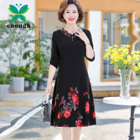 Middle aged and old women's wear Spring 2021 fashion Dress easy singleton  Decor 40-49 years old Socket moderate Crew neck Medium length routine Embroidery polyester Polyester 100% 96% and above Pure e-commerce (online only) longuette Chiffon skirt