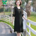 Middle aged and old women's wear Spring 2021 black XL recommendation 95-110 kg XXL recommendation 110-125 kg XXL recommendation 125-135 kg 4XL recommendation 135-145 kg 5XL recommendation 145-155 kg fashion easy Two piece set Solid color 40-49 years old Socket moderate Crew neck Medium length routine