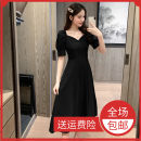 Dress Summer 2021 Red, black S,M,L Mid length dress singleton  Short sleeve commute square neck High waist Solid color zipper Big swing routine Others 18-24 years old Type A lady 51% (inclusive) - 70% (inclusive)
