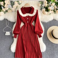 Dress Spring 2021 Black, apricot, red, breast wrapped Average size Short skirt singleton  Long sleeves commute other High waist Solid color Socket Pleated skirt puff sleeve Others 18-24 years old Type A Korean version 31% (inclusive) - 50% (inclusive) other other