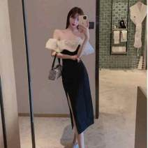 Dress Summer 2020 black S,M,L Mid length dress singleton  commute One word collar High waist Solid color A-line skirt Others 18-24 years old Type H Ezrin ZrtL0