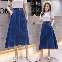 skirt Spring 2021 M,S,XL,L Dark blue-418 longuette High waist A-line skirt Other / other Button, solid color