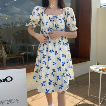 Dress Summer 2021 Blue floral skirt with white background S M L XL Mid length dress singleton  Short sleeve commute square neck High waist Broken flowers Socket A-line skirt puff sleeve 18-24 years old Type A Love value Korean version 833# More than 95% other Other 100% Pure e-commerce (online only)