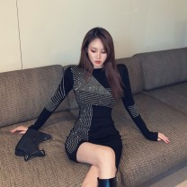 Dress Winter 2020 black S, M Middle-skirt singleton  Long sleeves 18-24 years old Diamond inlay