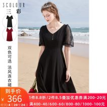 Dress Summer 2021 Black, red 170/92A/XL,165/88A/L,155/80A/S,175/96A/2XL,160/84A/M Mid length dress singleton  Short sleeve commute V-neck High waist Solid color zipper Big swing puff sleeve Others 25-29 years old Type X Tricolor Simplicity Nail bead D362H1017L10 More than 95% polyester fiber
