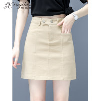 skirt Summer 2021 S M L XL 2XL 3XL Light Khaki white black Short skirt commute High waist A-line skirt Solid color Type A 25-29 years old 51% (inclusive) - 70% (inclusive) Denim Xinyilan Viscose pocket Korean version Viscose (viscose) 68% polyester 32% Pure e-commerce (online only)