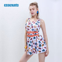 one piece  Essenuoto / esnato L,XL,XXL white With chest pad without steel support female Sleeveless Casual swimsuit