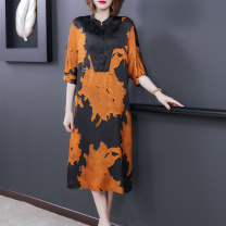 Women's large Summer 2021 Orange Gold L XL 2XL 3XL 4XL 5XL Dress Socket Three dimensional cutting Tong Wei 35-39 years old 81% (inclusive) - 90% (inclusive) Other 100% Pure e-commerce (online only)