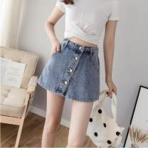 skirt Summer 2021 S M L XL 2XL Light blue [trouser skirt] 002 black [shorts] black [trouser skirt] Short skirt fresh Natural waist More than 95% other Beautiful clothes for a long time other Other 100%